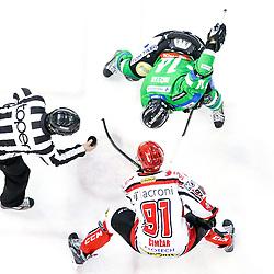Tadej Cimzar of Jesenice and Matej Hocevar of Olimpija during ice hockey match between HDD Telemach Olimpija and HDD SIJ Acroni Jesenice in Final of Slovenian League 2015/2016, on April 4, 2016 in Hala Tivoli, Ljubljana, Slovenia. Photo By Matic Klansek Velej / Sportida