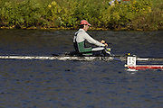 Boston, Massachusetts,  Championships Men's Single, ARG M1X Santiago FERNANDO, moving past USA M1X, James DIETZ II,  passing  the Newell Boathouse, Harvard University,  during his race in the  Forty second Head of the Charles, 21/10/2006.  Photo  Peter Spurrier/Intersport Images...[Mandatory Credit, Peter Spurier/ Intersport Images] Rowing Course; Charles River. Boston. USA