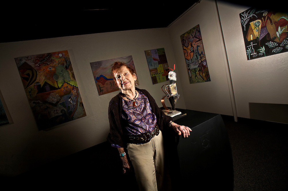 Helenka Bimstein who is having her first art show at age 95, poses for a portrait with her artwork at her home in Salt Lake City, Utah, Thursday, Feb. 4, 2010. August Miller, Deseret News .