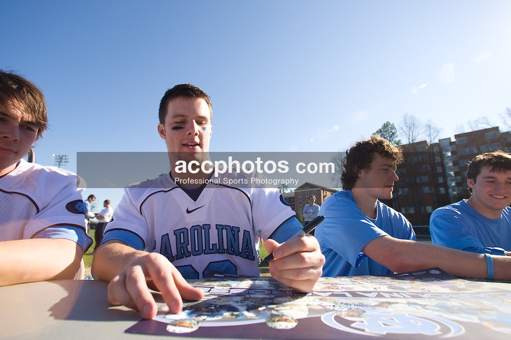 02 March 2008: North Carolina Tar Heels defenseman Sean Jackson (33) signs autographs for fans after a 13-8 win over the Cornell Big Red on Fetzer Field in Chapel Hill, NC.