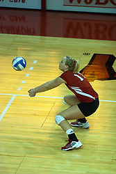 12 October 2006:  Kelly Niemeyer dips for a saving dig. The Redbirds of Illinois State beat the Braves of Bradley 3 games to 1 in a best of 5 match. The match took place at Redbird Arena on the campus of Illinois State University in Normal Illinois.<br />