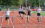 WARMINSTER, PA - MAY 1: Abington's Jordan Blake leads the way in the 300 meter hurdles during the Montgomery Memorial Track and Field Meet May 1, 2014 at William Tennent High School in Warminster, Pennsylvania. (Photo by William Thomas Cain/Cain Images)