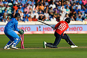 Wicket - Joe Root of England is bowled by Yuzvendra Chahal of India during the International T20 match between England and India at the SWALEC Stadium, Cardiff, United Kingdom on 6 July 2018. Picture by Graham Hunt.