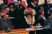 Kazakh judges<br /> Annual eagle festival<br /> Bayan Ulgii<br /> Western Mongolia
