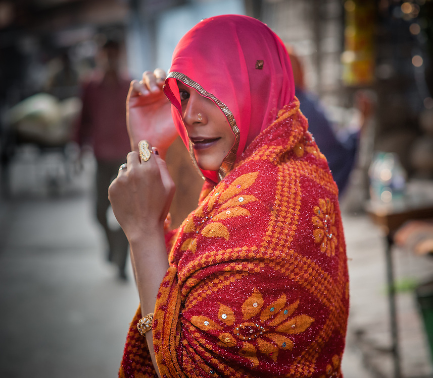 Indian woman in red sari (India)