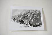 Cosmo Hulton on excercise bike, Dangerous Sports club ski race, St. Moritz. 1985