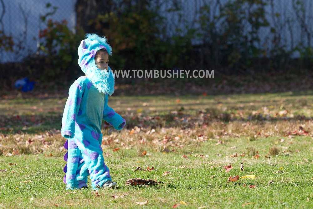 Middletown, New York  - A young boy in a costume walks across the grass during the Halloween Fall Festival at the Middletown YMCA's Center for Youth Programs on Oct. 25, 2014.