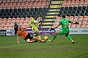 Notts County's Jonathan Forte(14) and Barnet's Charlie Clough and goalkeeper Craig Ross keep out Notts County's Jonathan Forte(14) during the EFL Sky Bet League 2 match between Barnet and Notts County at The Hive Stadium, London, England on 10 February 2018. Picture by Nigel Cole.