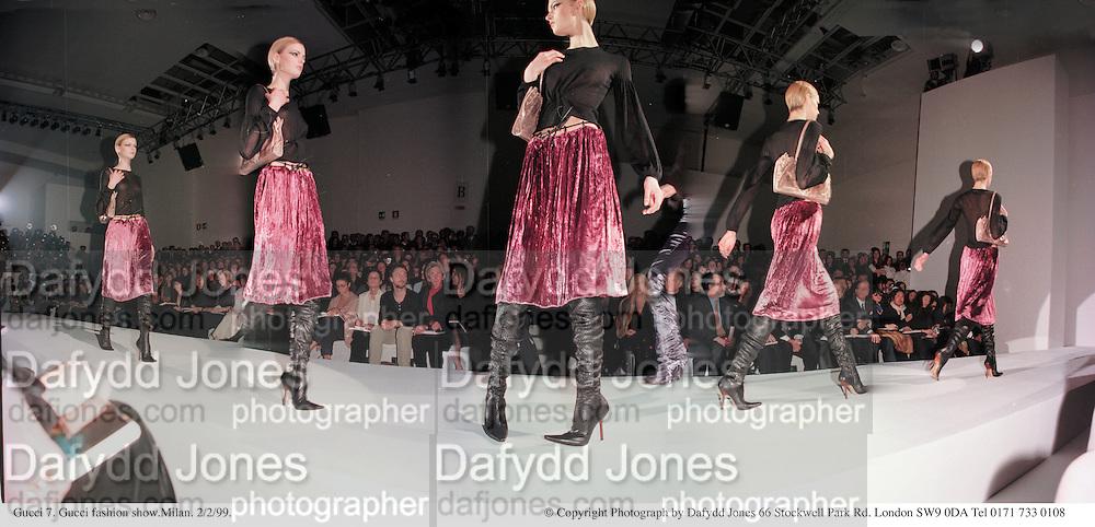 Gucci 7. Gucci fashion show.Milan. 2/2/99. © Copyright Photograph by Dafydd Jones 66 Stockwell Park Rd. London SW9 0DA Tel 0171 733 0108