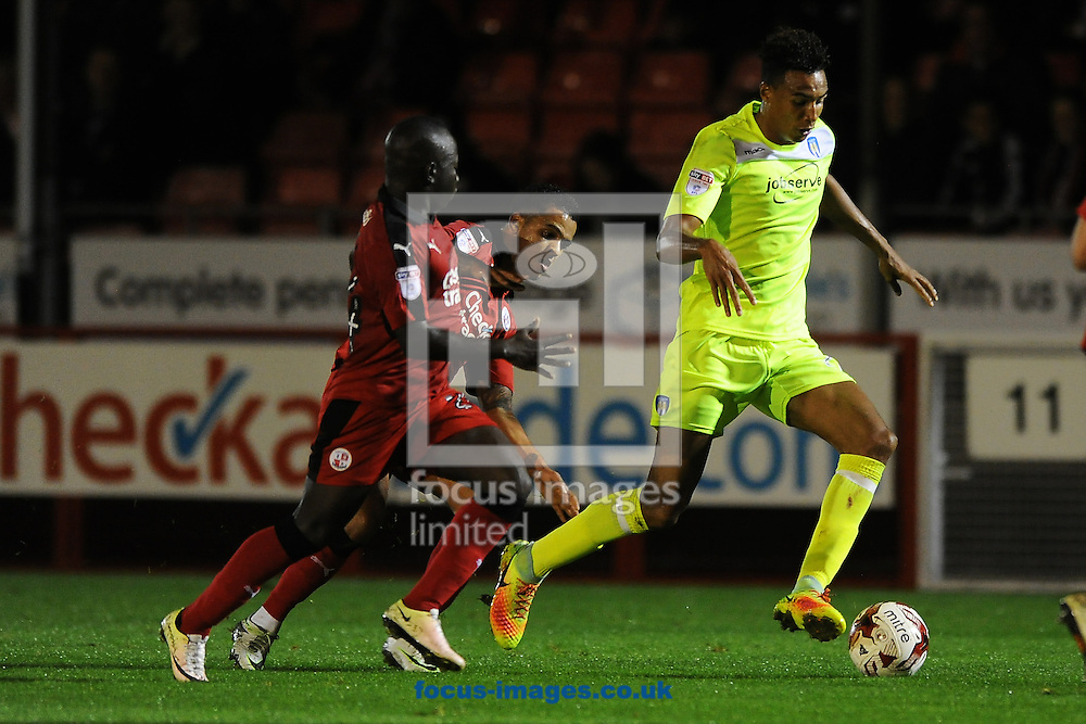Kurtis Guthrie of Colchester United looks to get past Billy Clifford of Crawley Town during the Sky Bet League 2 match between Crawley Town and Colchester United at Broadfield Stadium, Crawley<br /> Picture by Richard Blaxall/Focus Images Ltd +44 7853 364624<br /> 27/09/2016