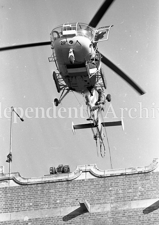 Irish Army Ranger Wing Training Drill, Repelling from an Alouette III Helicopter, at the Curragh, 23/10/1984 (Part of the Independent Newspapers Ireland/NLI Collection).