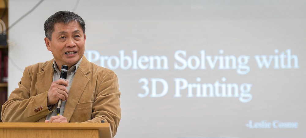 Dr. Nghia Le comments during a presentation of a prosthetic arm created with a 3D printer to 6-year-old Gracie at Washington High School, November 2, 2015.