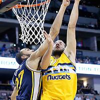 10 April 2016: Denver Nuggets center Joffrey Lauvergne (77) is blocked by Utah Jazz center Rudy Gobert (27) during the Utah Jazz 100-84 victory over the Denver Nuggets, at the Pepsi Center, Denver, Colorado, USA.