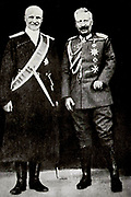 Kaiser Wilhelm II (right) with Pavlov Skoropadsky (1873-1945) the Hetman of the Ukraine.  Note the Kaiser's withered left arm.
