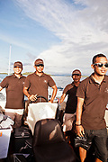 Taking the runabout to beach from Alila Purnama.