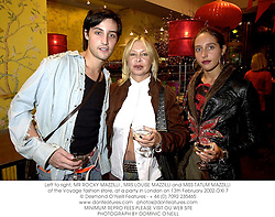 Left to right, MR ROCKY MAZZILLI , MRS LOUISE MAZZILLI and MISS TATUM MAZZILLI of the Voyage fashion store, at a party in London on 13th February 2002.	OXI 7