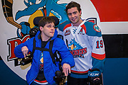 KELOWNA, CANADA - MARCH 07:  Jordan with Dillon Dube #19 of the Kelowna Rockets at the Kelowna Rockets game on March 07, 2018 at Prospera Place in Kelowna, British Columbia, Canada.  (Photo By Cindy Rogers/Nyasa Photography,  *** Local Caption ***