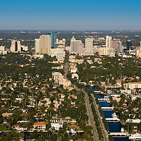 Aerial view of Fort Lauderdale looking from the east toward the west along Las Olas Boulevard