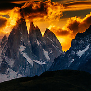 Sunset over the Cerro Torre spires in Los Glacieres National Park, Argentina.
