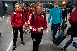 ASTANA, KAZAKHSTAN - Thursday, September 14, 2017: Wales' Natasha Harding arrives at Astana Nursultan Nazarbayev International Airport as the squad travel to Kazakhstan ahead of the FIFA Women's World Cup 2019 Qualifying Round Group 1 match against Kazakhstan. (Pic by David Rawcliffe/Propaganda)