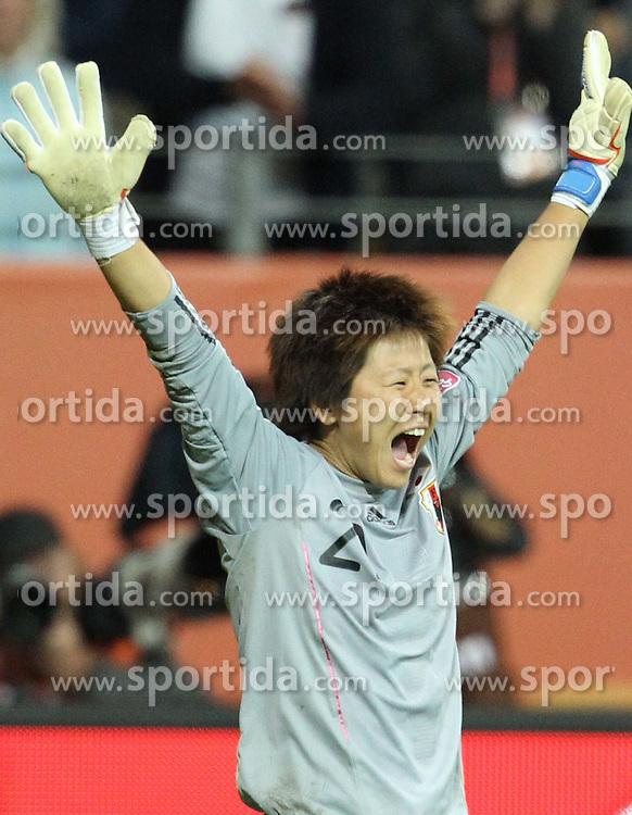 17.07.2011, Commerzbankarena, Frankfurt, GER, FIFA Women Worldcup 2011, Finale,  Japan (JPN) vs. USA (USA), im Bild:  .Torjubel / Jubel  Ayumi Kaihori (Japan).. // during the FIFA Women Worldcup 2011, final, Japan vs USA on 2011/07/11, FIFA Frauen-WM-Stadion Frankfurt, Frankfurt, Germany.   EXPA Pictures © 2011, PhotoCredit: EXPA/ nph/  Mueller       ****** out of GER / CRO  / BEL ******