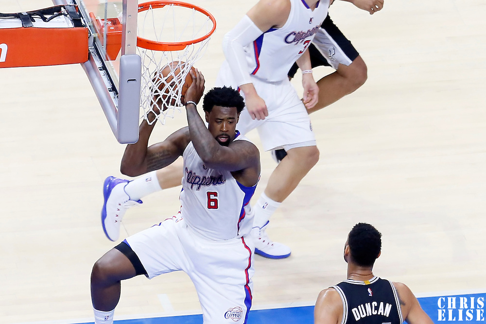 19 April 2014: Los Angeles Clippers center DeAndre Jordan (6) grabs a rebound during the Los Angeles Clippers 107-92 victory over the San Antonio Spurs, during Game One of the Western Conference Quarterfinals of the NBA Playoffs, at the Staples Center, Los Angeles, California, USA.