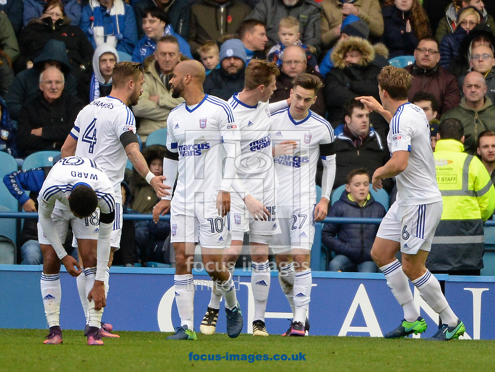 Tom Lawrence (27) of Ipswich Town celebrates after scoring to make it 1-0 during the Sky Bet Championship match at Hillsborough, Sheffield<br /> Picture by Richard Land/Focus Images Ltd +44 7713 507003<br /> 05/11/2016