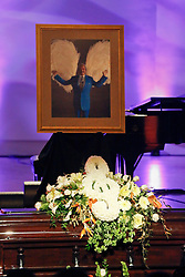20 November 2015. Orpheum Theater, New Orleans, Louisiana. <br /> Memorial service for musician Allen Toussaint. <br /> The floral wreath atop Toussaint's casket.<br /> Photo; Charlie Varley/varleypix.com
