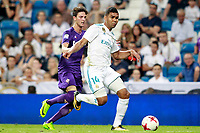 Real Madrid's Carlos Henrique Casemiro (r) and ACF Fiorentina's Rafik Zekhnini during Santiago Bernabeu Trophy. August 23,2017. (ALTERPHOTOS/Acero)