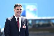 NAVO-bijeenkomst in Brussel. Tijdens de top wordt onder meer gesproken over gereedheid, inzetbaarheid en het verbeteren van de militaire mobiliteit in Europa.<br /> <br /> NATO meeting in Brussels. The summit discusses, among other things, readiness, employability and the improvement of military mobility in Europe.<br /> <br /> Op de foto / On the photo:  De premier van Spanje Pedro Sanchez / The Prime Minister of Spain Pedro Sanchez