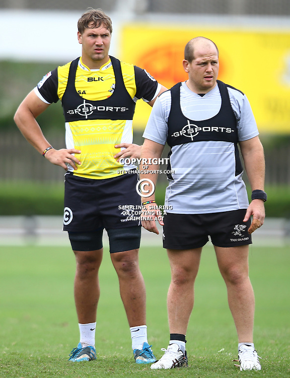 DURBAN, SOUTH AFRICA, 5 April, 2016 - Etienne Oosthuizen  with Lourens Adriaanse during The Cell C Sharks training session  at Growthpoint Kings Park in Durban, South Africa. (Photo by Steve Haag)<br /> images for social media must have consent from Steve Haag