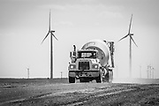 Concrete truck delivering concrete at the Spring Canyon Energy Center in Peetz, CO.