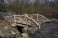 Newly renovated rustic bridge in the North Woods of Central Park