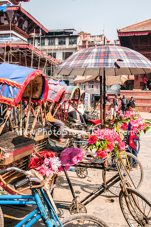 Rickshaw Taxi, Kathmandu Durbar Square in front of the old royal palace of the former Kathmandu Kingdom, Nepal