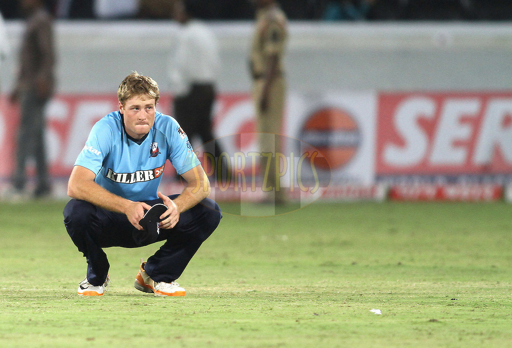 A devastated Martin Guptill of the Auckland Aces after losing to Somerset during the CLT20 - Q4 match between Somerest and Auckland Aces held at the Rajiv Gandhi International Stadium, Hyderabad on the 20th September 2011..Photo by Shaun Roy/BCCI/SPORTZPICS