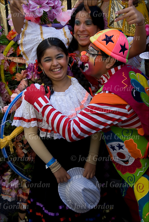 Colombians dressed in their native Carnival folk costumes for the Hispanic Day Parade.<br /> <br /> October is Hispanic Heritage Month, the Hispanic or Latino  community in the New York City celebrate their heritage and culture the Sunday before Columbus Day.