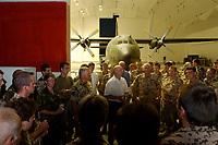 11 AUG 2003, TERMEZ/USBEKISTAN:<br /> Peter Struck (M - weisses Hemd), SPD, Bundesverteidigungsminister, haelt eine Rede vor den Soldaten des Lufttransportstuetzpunktes der Bundesluftwaffe in Termez, vor einem Hangar (mit einer C-160 Transall)auf dem Flughafen von Termez<br /> IMAGE: 20030811-01-119<br /> KEYWORDS: Streitkraefte, Streitkräfte,  Uzbekistan, Bundeswehr, Luftwaffe, LTG