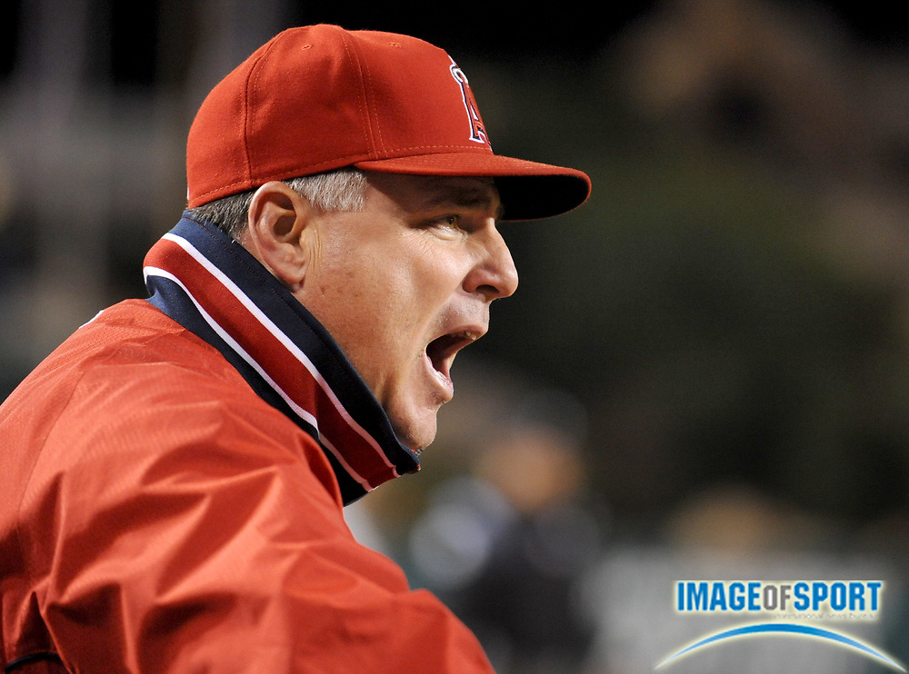 May 26, 2008; Anaheim, CA, USA;  Los Angeles Angels manager Mike Scioscia (14) shouts from the dugout in the eighth inning against the Detroit Tigers at Angel Stadium. Mandatory Credit: Kirby Lee/Image of Sport-US PRESSWIRE