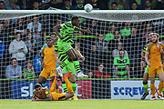 Forest Green Rovers Ebou Adams(14) heads the ball during the EFL Sky Bet League 2 match between Forest Green Rovers and Newport County at the New Lawn, Forest Green, United Kingdom on 31 August 2019.