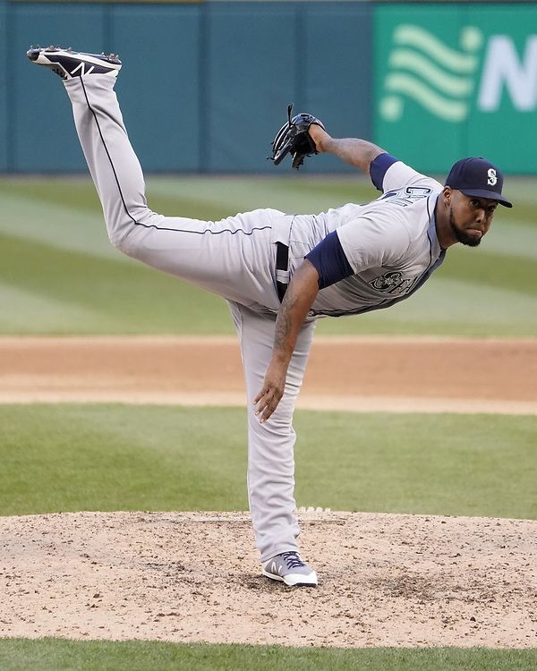 CHICAGO - APRIL 24:  Juan Nicasio #12 of the Seattle Mariners pitches against the Chicago White Sox on April 24, 2018 at Guaranteed Rate Field in Chicago, Illinois.  (Photo by Ron Vesely)   Subject:   Juan Nicasio