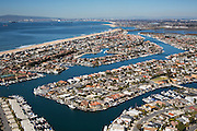 Aerial Stock Photo of Sunset Beach Community in Huntington Beach Looking Towards Long Beach California
