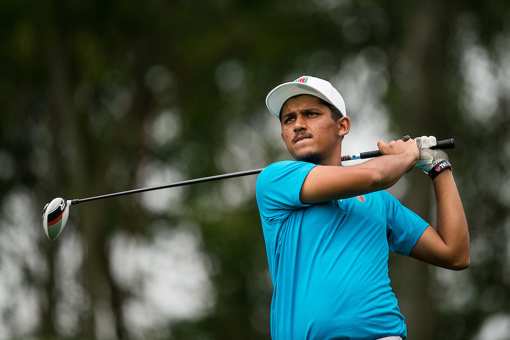 Shubhanm Narain of India in action during day three of the 10th Faldo Series Asia Grand Final at Faldo course on 04 March of 2016 in Shenzhen, China. Photo by Xaume Olleros.