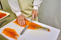 France, Manche (50), Cherbourg-Octeville, usine de Saumon de France, le seul saumon élevé en mer en France // France, Normandy, Manche department, Cherbourg-Octeville, Saumon de France factory, salmon