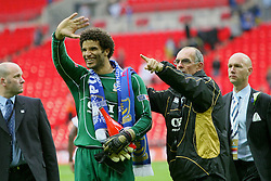 LONDON, ENGLAND - Saturday, May 17, 2008: Portsmouth's goalkeeper David James waves to his family as he celebrates winning the FA Cup after beating Cardiff City 1-0 during the FA Cup Final at Wembley Stadium. (Photo by Chris Ratcliffe/Propaganda)