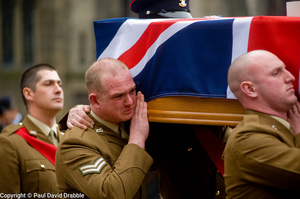 "Led by Revd Helen Guest the barer party made up of Soldiers from The Yorkshire Regiment carry Corporal Liam Rileys coffin out of Sheffield Cathedral where his Funeral service took place on Wednesday 24 February. ..Corporal Riley of 3rd Battalion Yorkshire Regiment who died in an explosion in Afghanistan on 1 February 2010 while on foot patrol south of the Kings Hill check point Helmand. ..Upon hearing of Liam's death he was described by Price Harry as ""a legend"""
