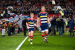 Jordan Crane (co-capt) of Bristol Rugby walks out with the mascots - Rogan/JMP - 13/04/2018 - RUGBY UNION - Ashton Gate Stadium - Bristol, England - Bristol Rugby v Doncaster Knights - Greene King IPA Championship.