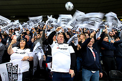 Derby County fans wave flags as the teams enter the pitch for the Sky Bet Championship playoff semi-final - Mandatory by-line: Robbie Stephenson/JMP - 11/05/2018 - FOOTBALL - Pride Park Stadium - Derby, England - Derby County v Fulham - Sky Bet Championship