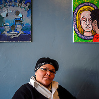 010214       Adron Gardner<br /> <br /> Nitasha Manning poses for a portrait at The Coffee House in Gallup Friday.  Manning is the new ArtsCrawl coordinator.