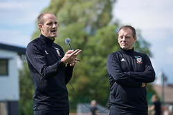 NEWPORT, WALES - Saturday, May 25, 2019: Dave Adams (L) and Richard Williams explain their practical demonstrations of Skill Acquisition during day two of the Football Association of Wales National Coaches Conference 2019 at Dragon Park. (Pic by David Rawcliffe/Propaganda)