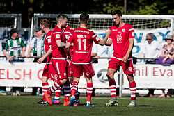 NEWTOWN, WALES - Sunday, May 6, 2018: Andy Owens of Connahs Quay Nomads celebrates scoring his sides fourth goal during the FAW Welsh Cup Final between Aberystwyth Town and Connahs Quay Nomads at Latham Park. (Pic by Paul Greenwood/Propaganda) Jay Owen, Nathan Woolfe
